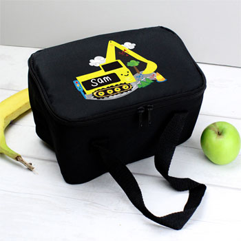 Personalised Boys Yellow Digger Insulated Lunch Sandwich Bag
