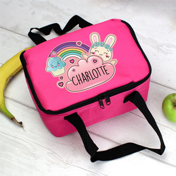 Personalised Girls Cute Bunny Pink Lunch Sandwich Bag