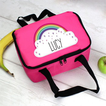 Personalised Girls Rainbow Pink Lunch Sandwich Bag