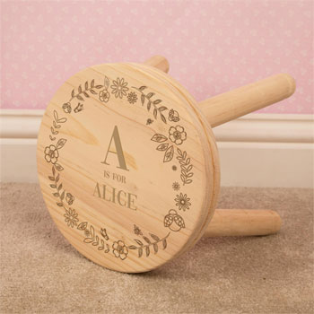 Personalised Engraved Girls Wooden Initial Name Stool
