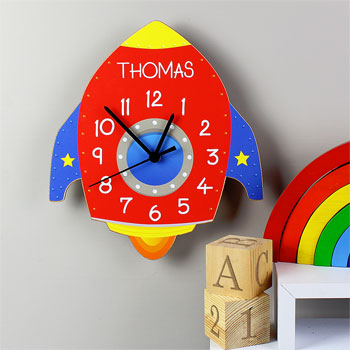 Personalised Rocket Shaped Childrens Wooden Clock