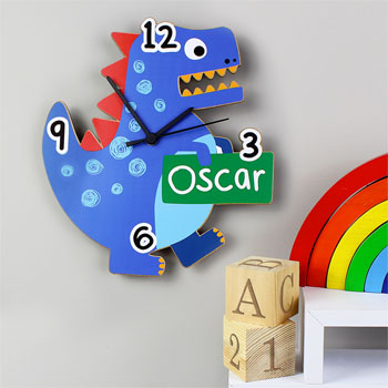 Personalised Dinosaur Shaped Childrens Wooden Clock