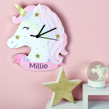 Girl's Personalised Pink & White Unicorn Shaped Wooden Clock