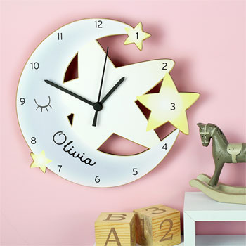 Personalised Moon and Stars White Wooden Nursery Wall Clock