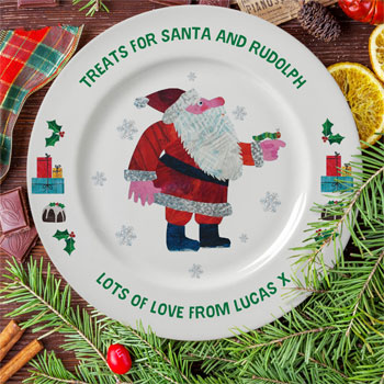 Very Hungry Caterpillar Treats For Santa Personalised Plate
