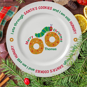 Very Hungry Caterpillar Santas Cookies Personalised Plate