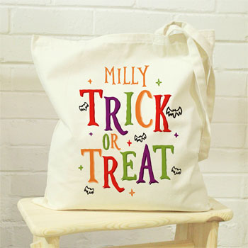 Personalised Trick or Treat Halloween Treats Tote Bag