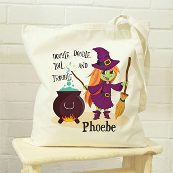 Personalised Toil & Trouble Halloween Treats Cotton Tote Bag