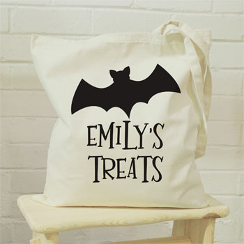 Personalised Bat Childrens Halloween Treats Tote Bag