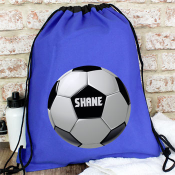 Boys Blue Personalised Football Swim PE Kit School Bag