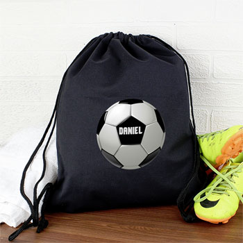 Boys Black Personalised Football Swim PE Kit School Bag