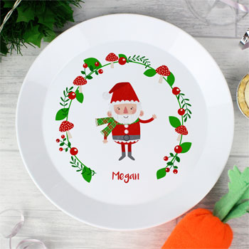 Personalised Christmas Toadstool Santa Plastic Toddler Plate