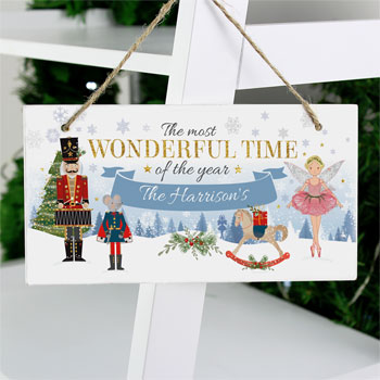 Personalised Nutcracker Wooden Christmas Sign Decoration