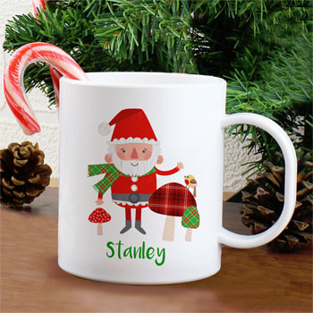 Personalised Christmas Toadstool Santa Plastic Toddler Mug