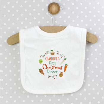 Personalised Babys First Christmas Dinner Cotton Bib