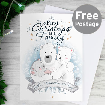 Personalised Polar Bear 1st Christmas As A Family Card