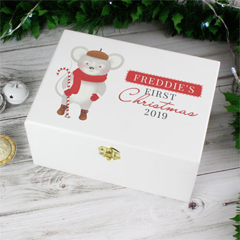Personalised 1st Christmas Mouse White Wooden Keepsake Box