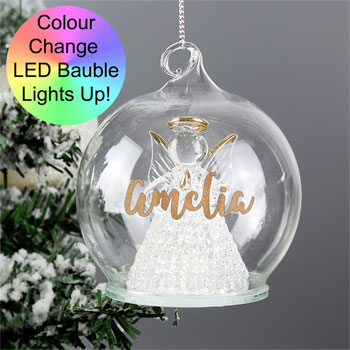 Personalised Christmas Colour Changing LED Angel Tree Bauble