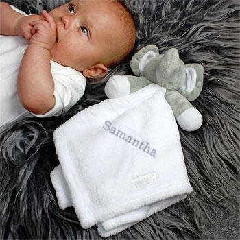 Personalised Plush Grey Elephant White Baby Comforter