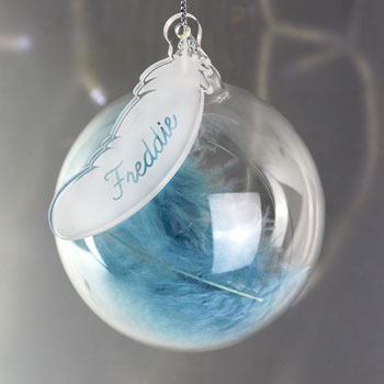 Personalised Blue Feather Glass Baby Boy Memorial Bauble