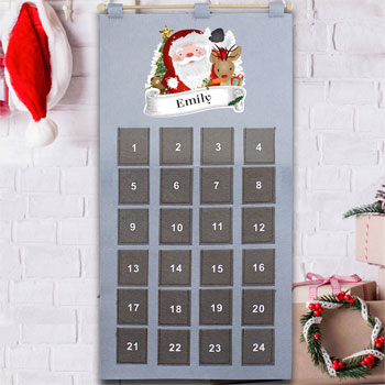 Childrens Personalised Santa Felt Pocket Advent Calendar