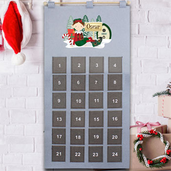 Children's Personalised Xmas Elf Felt Pocket Advent Calendar