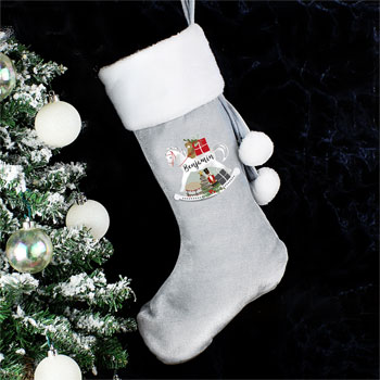 Personalised Rocking Horse Luxury Silver Christmas Stocking
