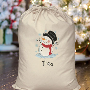 Personalised Children's Snowman Cotton Santa Sack