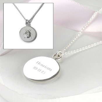 Sterling Silver Personalised Engraved Ladybird Luck Necklace