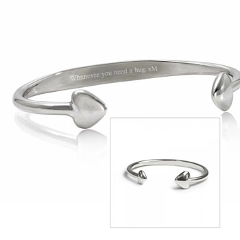 Personalised Engraved Story Bangle Mum and Child Bracelet