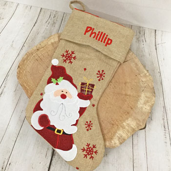 Personalised Hessian Santa Children's Christmas Stocking