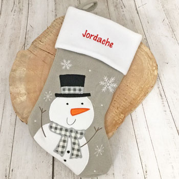 Personalised Deluxe Silver Snowman Christmas Stocking