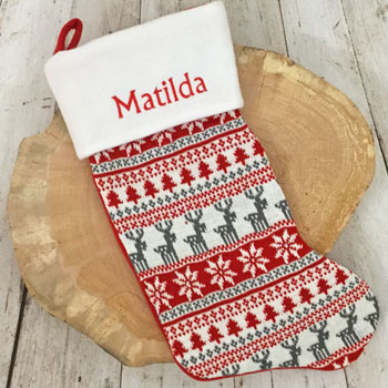 Personalised Red Nordic Print Luxury Christmas Stocking