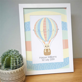 Personalised New Baby A4 Framed Hot Air Balloon Print