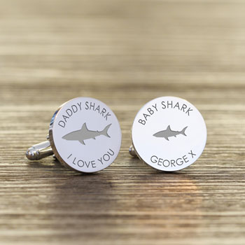 Personalised Daddy Shark Baby Shark Silver Plated Cufflink