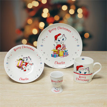 Personalised Merry Christmas Nina Kitten China Breakfast Set