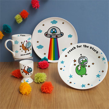 Kid's Personalised Cosmic Breakfast Set by Flossy & Jim