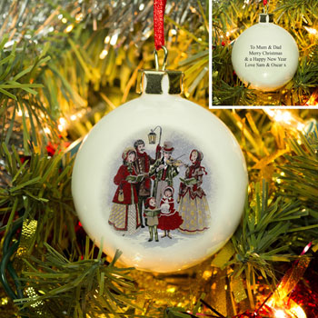 Traditional Carol Singers Personalised Bone China Bauble