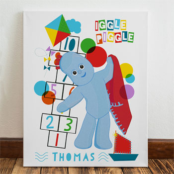 Children's Personalised Igglepiggle Hopscotch Name Canvas