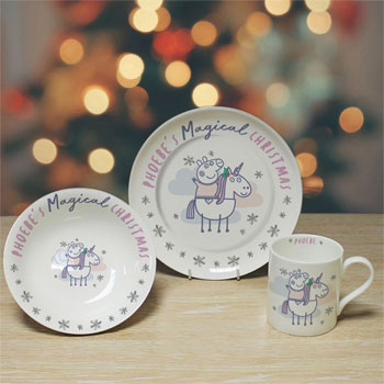 Girl's Personalised Peppa Pig Christmas China Breakfast Set
