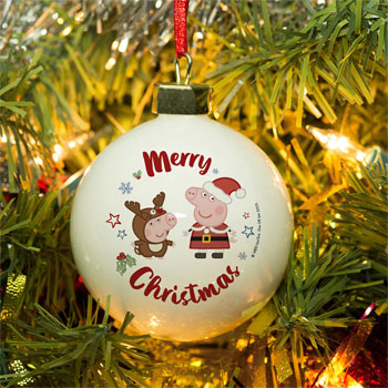 Personalised Peppa Pig & George Pig Christmas Tree Bauble