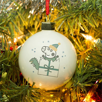 Boys Personalised Peppa Pig George Pig Christmas Tree Bauble