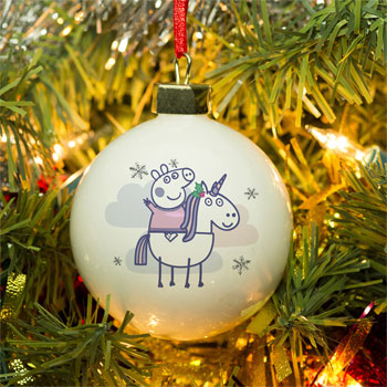 Girl's Personalised Peppa Pig Unicorn Christmas Tree Bauble