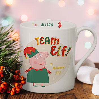 Personalised Peppa Pig Team Elf Mummy Pig Balmoral Xmas Mug