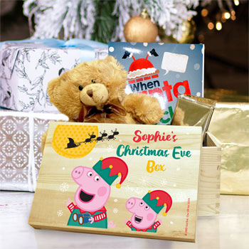 Personalised Peppa Pig & George Pig Wooden Christmas Eve Box