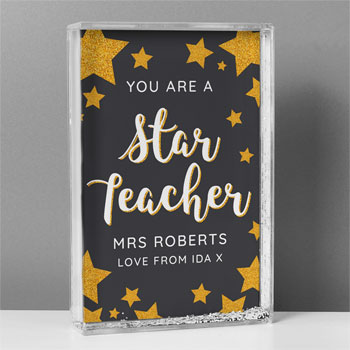 Personalised You Are A Star Teacher Glitter Shaker Keepsake