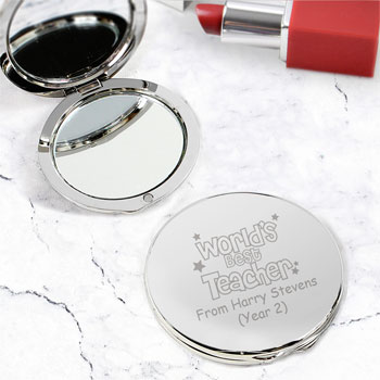 Personalised World's Best Teacher Round Compact Mirror