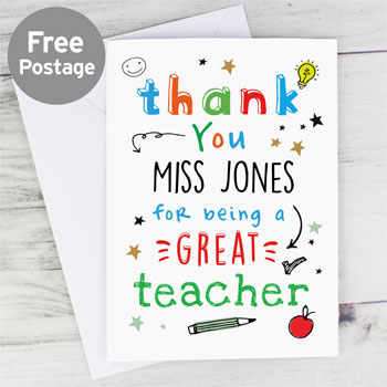 Personalised Thank You For Being a Great Teacher Card