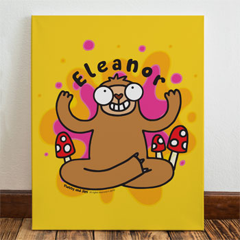 Flossy & Jim Kid's Personalised Groovy Sloth Canvas