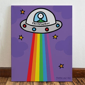 Flossy & Jim Personalised Cosmic Spaceship Children's Canvas